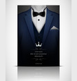 blue suit and tuxedo with black bow tie vector image vector image