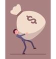Businessman dragging a giant money sack vector image vector image