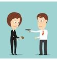 Businessman robs business woman with a handgun vector image