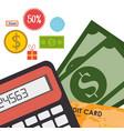 buy on line with bills dollars vector image