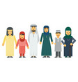 cartoon arab muslim family set vector image vector image