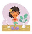 cartoon girl doing yoga vrikshasana tree pose vector image