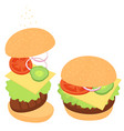 cheeseburger with greens and vegetables a set of vector image vector image