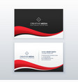 clean business card design with red wave vector image vector image