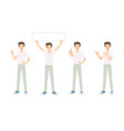 collection young man do many pose vector image vector image