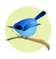colorful blue bird on a branch side profile vector image vector image