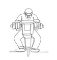 construction worker jackhammer continuous line vector image