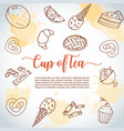 cup of tea background sweet pastry cupcakes vector image vector image