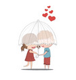 cute cartoon doodle lovers a boy and a girl under vector image vector image