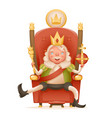 cute cheerful king ruler on throne crown on head vector image