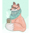 Cute hipster fox with glasses drinking hot coffee vector image vector image