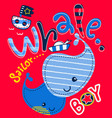 cute whales with sailor theme on sea vector image vector image