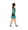 drawing woman walking with green dress and purse vector image
