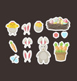 easter stickers gift tags labels with cute vector image vector image