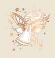 elegant rose gold decorative girl angel vector image