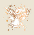 elegant rose gold decorative girl angel vector image vector image