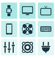gadget icons set with tv loudspeaker cable and vector image vector image
