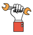 hand holding wrench flat icon color sections vector image