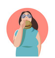 happy fat woman eating a big tasty hamburger flat vector image