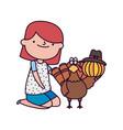 happy thanksgiving day girl turkey pumpkin vector image vector image