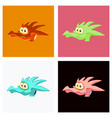 head of little cartoon dragon with sad face vector image vector image