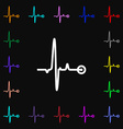 Heartbeat icon sign Lots of colorful symbols for vector image