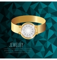 icon ring gold gem isolated vector image vector image