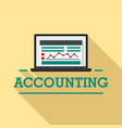 laptop accounting logo flat style vector image