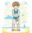 little red-haired girl cute kid standing on beach vector image