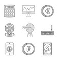 market evaluation icons set outline style vector image