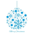 Merry Christmas ball blue ornament vector image vector image