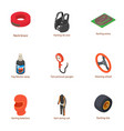 motorcycle suit icons set isometric style vector image
