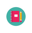 notebook and pen - concept icon in flat graphic vector image vector image