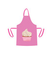 pink kitchen apron with cupcake vector image vector image