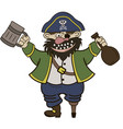 pirate with a mug and a bottle of rum vector image vector image