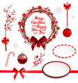 red christmas elements set vector image vector image