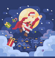 santa claus flying over a mountain village in a vector image