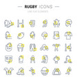 set line icons rugby vector image