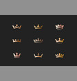 set royal gold crowns icons and logos vector image