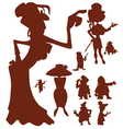silhouettes of cartoon characters of men and women vector image