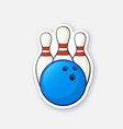 sticker blue bowling ball and pins vector image