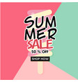 summer sale 50 off shop now ice cream colorful ba vector image vector image