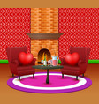 the interior of living room for the celebration of vector image