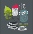 Three cute owls with books and cup of coffee vector image vector image