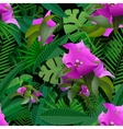 tropical plants painting seamless background vector image vector image