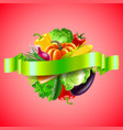 vegetables in sphere on red background vector image vector image