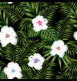 white hibiscus and green leaves seamless black vector image vector image