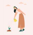 woman watering flowers farmer works on farm vector image