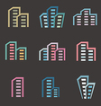 city buildings silhouette icons vector image