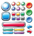 collection of colored glossy web elements vector image